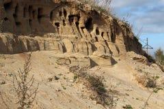 Sawallows gniazdeczko w piaskowatej ścianie, Zdjęcia Stock