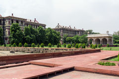 Sawan Pavilion. And Hayat-Bakhsh gardens in Red Fort in Delhi, India Stock Image