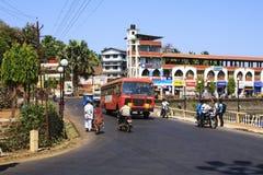Sawantwadi miasto z dużym ruchem drogowym Zdjęcia Royalty Free