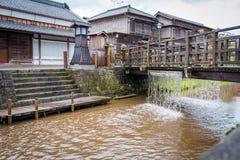 SAWARA of ?Weinig Edo ?zijn historisch centrum liggen langs een kanaal in Katori-District, de Prefectuur van Chiba, Japan stock fotografie