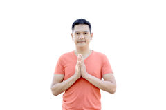 Sawasdee, The man show welcomed Thailand Culture. On white background stock photography