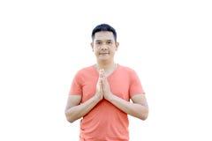 Sawasdee, a mostra do homem deu boas-vindas à cultura de Tailândia Fotografia de Stock