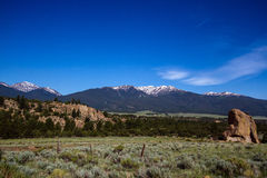 Sawatch Range seen from east of the Arkansas River near Buena Vi Royalty Free Stock Image