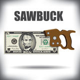 Sawbuck de cinco notas de dólar Fotografia de Stock