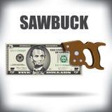 Sawbuck della banconota da cinque dollari Fotografia Stock