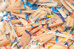 Sawdust. From pencils isolated on a white background. studio. picture Stock Photo