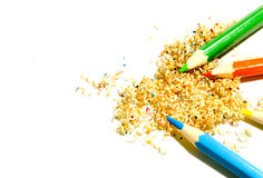 Sawdust crayons. Sawdust colored pencils on white background Stock Photography