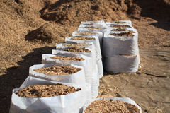 Sawdust fertilizer in the white plastic bags. Group Stock Image