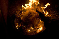Sawdust on fire Royalty Free Stock Images