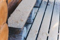 Sawdust. Much Grey sawdust in summer stock image