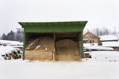 Sawdust and woodchip for heating under roof near sawmill Royalty Free Stock Images