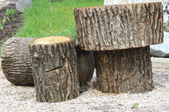Sawed wooden logs Royalty Free Stock Images