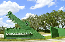 Sawgrass Mills sign. At the entrance to the shopping mall operated by the Simon Property Group Royalty Free Stock Image