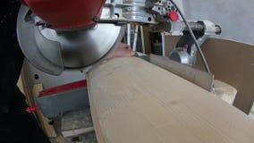 Sawing de madera al tamaño con una sierra metrajes