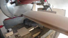 Sawing de madera al tamaño con una sierra almacen de video