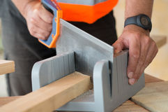 Sawing del carpintero Imagen de archivo libre de regalías