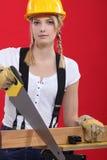 Sawing femenino del carpintero. Fotografía de archivo