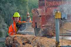 Sawing the log. Man cutting up a large red pine log with a portable sawmill, Westland, New Zealand. Native timber is milled under permit in New Zealand Stock Images