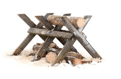 Sawing log on wooden stand Royalty Free Stock Photos