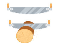 Sawing logs two handed saw. Repair tool. Woodcutter, lumberjack, builder or carpenter instruments. Woodworking process vector illustration. Handmade work  on Stock Photos