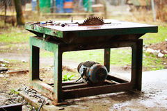 Sawing machine outdoors Stock Images