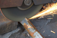 Sawing metal Stock Photography