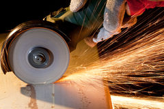 Sawing metal Stock Image