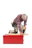 Sawing supérieur de travailleur manuel Photos libres de droits