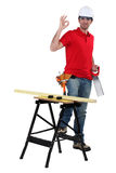 Sawing wood Stock Image