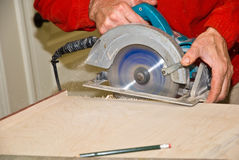 Sawing Wood/Cabinetry Royalty Free Stock Photography