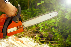 Sawing wood with a chainsaw. Carpenter working Royalty Free Stock Photos