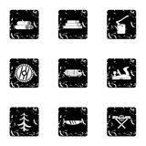 Sawing woods icons set, grunge style. Sawing woods icons set. Grunge illustration of 9 sawing woods vector icons for web vector illustration