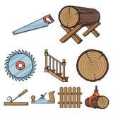 Sawmil e ícones ajustados da madeira no estilo dos desenhos animados Imagens de Stock