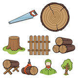 Sawmil e ícones ajustados da madeira no estilo dos desenhos animados A coleção grande da serração e a madeira vector a ilustração Fotografia de Stock Royalty Free