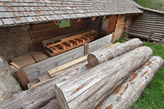 Sawmill. An old sawmill working with a waterwheel Royalty Free Stock Photos