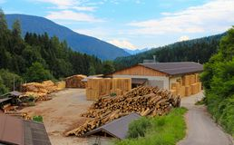 Sawmill. In the Val di Non valley, Trentino, Italy Royalty Free Stock Image