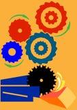 Sawmill. IIllustration symbolising the sawmill mechanism Stock Photo