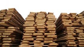 Sawmill bark boards. Storage wood stock video