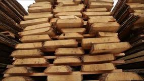 Sawmill bark boards. Storage wood stock footage