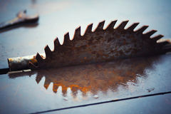 Sawmill blade reflection. Abstract picture with reflection  of a rusty  sawmill blade Stock Images