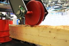 Sawmill for cutting logs stock image