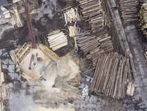 Sawmill. Felled trees, logs stacked in a pile. View from above. Royalty Free Stock Photography