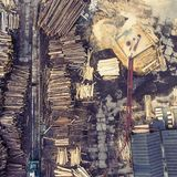 Sawmill. Felled trees, logs stacked in a pile. View from above. Stock Photography