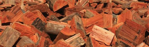 Sawmill firewood. Sawmill firewood cut and ready for sale Stock Image