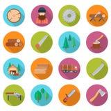 Sawmill icon set royalty free illustration