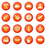 Sawmill icons vector set Stock Images
