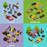 Sawmill 2x2 Isometric Design Concept. Sawmill 2x2 design concept set of  working lumberjacks timber shipping and woodworking machinery square compositions Royalty Free Stock Photos