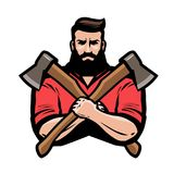 Sawmill, joinery, carpentry logo or label. Lumberjack holds crossed axes in hands. Cartoon vector illustration. Sawmill, joinery, carpentry logo or label Royalty Free Stock Images