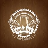 Sawmill label with wood stump and saw. Emblem for forestry and lumber industry Royalty Free Stock Image