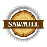 Sawmill label with wood stump and saw. Emblem for forestry and lumber industry.  Stock Photography